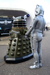 Cyberman and Dalek (masimage) Tags: robot costume jeep cosplay leicester science telos event doctorwho bbc scifi british dalek tardis cyberman k9 unit nsc nationalspacecentre cyberus timelords mondas cyberleader cybus judoon scienceofthetimelords timelrd
