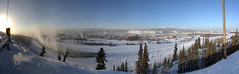 Yukon Quest at Whitehorse (yukonchris) Tags: trees winter panorama snow canada cold ice beauty landscape outside north yukon icefog northern whitehorse sleddogs yukonriver intothesun yukonquest dogsledrace 33c 2015 northof60 sleddograce february7 southernyukon deepcold yukonrivervalley cityofwhitehorse canon7d