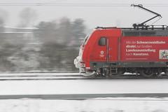 Die Bahn macht mobil ... (Chez Eskay) Tags: schnee winter snow weather train germany deutschland zug transportation karlsruhe badenwrttemberg weiherfeld canonefs1855mmf3556 canoneos1000d