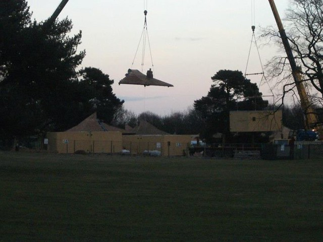 17/02/15 - A lodge and lodge roof being craned into position.