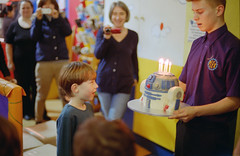 A 7th birthday of many cakes. (Daire Quinlan) Tags: birthday colour film cake 35mm 50mm diy lomo nikon mark 7 f100 400 r2d2 nikkor 7th 400asa asa400 quinlan c41 2015 nikkor50mmf14afd adamovic fujihunt