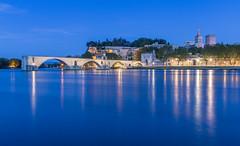 The original bridge to nowhere - Pont d'Avignon, Avignon, southern France (part of Unesco world heritage site) (Maria_Globetrotter) Tags: bridge blue night nowhere hour img02843