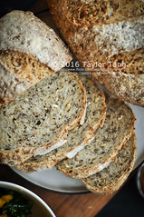Breakfast with homemade bread (TailorTang) Tags: stilllife food breakfast bread 50mm homemade sunflowerseed 5014 foodphotography flaxseed hempseed chiaseed