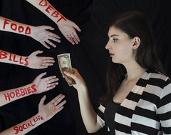 Payday (Rachel.Adams) Tags: red selfportrait money art college me hands bills personal surrealism stripes poor surreal pale series 23 blink182 payday decisions debt meaningful collegestudent conceptional selfportraitphotography conceptionalphotography noonelikesyouwhenyoure23