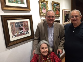 Artists Margarita Cano with son Pablo and Emilio Favelo at Margarita's opening at Books and Books Gallery in Coral Gables