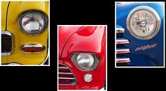 Headlights (ildikoannable) Tags: blue red colour yellow collage classiccar headlights classiccarheadlights olympusomdem10