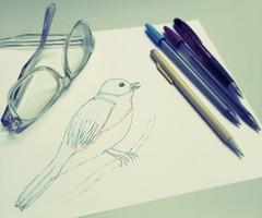 Drawing 101 (Pfish44) Tags: bird pencil sketch drawing easternbluebird ballpointpen goofingoffatwork 52weeksofpix2016