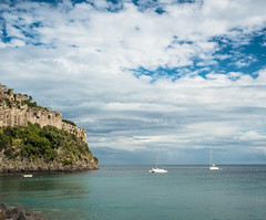 Castello Aragonese d' Ischia (elzauer) Tags: old sea sky italy tree castle history nature architecture outdoors island photography europe day campania hill rippled cultures idyllic mediterraneansea tranquilscene naplesitaly traveldestinations buildingexterior gulfofnaples mediterraneanculture italianculture ischiaisland lushfoliage builtstructure naplesprovince