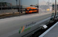 Super reflection of the past in the future. (Longreach - Jonathan McDonnell) Tags: train gm retro irishrail generalmotors supertrain cie iarnrodeireann 071 corasiompaireireann iarnrdireann dsc3395 ciesupertrain
