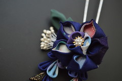 Blue Chinese Bell Flower Hair pin. September Kanzashi (Bright Wish Kanzashi) Tags: kikyo bellflower japanesetechnique kanzashi tsumamikanzashi tsumamizaiku handmade