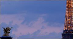 Parisian cloudy sky (lhoteln) Tags: city bridge blue sunset sky paris france tower sol statue azul del clouds de gold golden soleil torre tour or coucher ciudad eiffel bleu ciel cielo nubes pont capitale nuages puesta estatua francia ville dorado oro dor