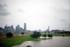 Flood Warning Watch in Dallas, Tx (miltonrosas) Tags: bridge skyline canon buildings dallas texas flood superia 400 fujifilm canonae1 xtra floodwarning