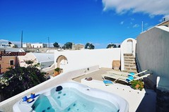 Villa Cyrene at #Megalochori, #Santorini, #Greece. Pamper your self in the all-natural outdoors hot tub situated on the upper floor #terrace. The chemical free hot tub features ozone generator, UV disinfection system, and I pod dock with speakers. After d (bookingsantorini) Tags: trip travel vacation holiday greek hotel mediterranean aegean traveller santorini greece villa cyclades greekisland travelgreece santorinihotels bookingsantorini