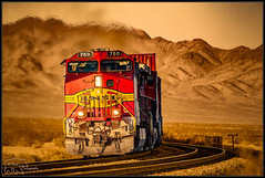 BNSF 750 westbound [Explored] (K-Szok-Photography) Tags: california canon desert trains socal transportation locomotive ge canondslr bnsf railroads mojavedesert warbonnet 50d explored canon50d deserttrains sbcusa kenszok kszokphotography