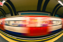 Mind the Gap (colin|whittaker) Tags: motion blur london station train underground tube fisheye