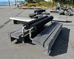 Bench with Cylinder (mikecogh) Tags: bench design wooden waterfront sunny wellington cylindrical