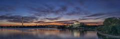 Tidal Basin Dawn Pano (D. Scott McLeod) Tags: panorama water colors reflections dawn washingtondc dc districtofcolumbia washingtonmonument jeffersonmemorial mcleod tidalbasin scottmcleod colorfulsky dscottmcleod