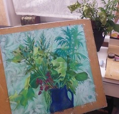 Summer herbs (clipso_callipso) Tags: life summer plants green art nature floral painting still colorful herbs drawing burgundy pastel mint shades pastels softpastels sagebrash