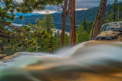 eagle falls early morning (Marc Crumpler (Ilikethenight)) Tags: california morning trees lake mountains water clouds sunrise canon bay waterfall 24105mmf4l laketahoe sierranevada emeraldbay 6d eaglefalls canon6d