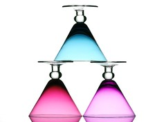 Pastel (Karen_Chappell) Tags: pink blue stilllife white 3 glass glasses three triangle pastel stack balance shape