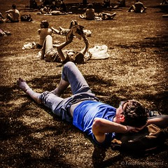 A Summer's Day in Edinburgh (FotoFling Scotland) Tags: sun muscles gardens sepia scotland edinburgh princesstreetgardens lazy sunbathing bulging gardena barefooted suinglasses