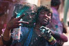 Holi Antics (Bernard West) Tags: travel people india color colour festival holi mathura