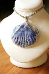 Dark blue ceramic shell pendant perfect for that mermaid necklace you want to make (Suzie the Foodie http://suziethefoodie.blogspot.co) Tags: blue make dark that ceramic for necklace perfect you shell want mermaid pendant