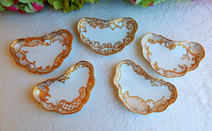 Antique Limoges Porcelain Hand Painted Bone Dishes Gold Gilt ~ Artist Signed (Donna's Collectables) Tags: gold artist hand antique painted bone dishes porcelain ~ signed gilt limoges