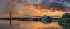 Tidal Basin sunrise pano (D. Scott McLeod) Tags: sunrise washingtondc dc districtofcolumbia nikon colorful washingtonmonument dramaticsky jeffersonmemorial tidalbasin scottmcleod nationscapital nikond800 washingtondcphotographer dscottmcleod
