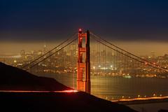 Golden Gate City (rajaramki) Tags: sanfrancisco goldengatebridge moonlight bluehour hawkhill