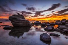 Until the last moment (Eunice Eunjin Oh) Tags: untilthelastmoment sunset laketahoe bonsairock cloudscape sky water rocks travel naturephotography