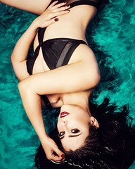 """Summer Feeling""  (sandys eyecatcher) Tags: blue summer portrait woman hot sexy water pool fashion swim canon model glamour photoshoot turquoise posing bikini tropical boudoir flashlight concept brunette speedlight wethair swimwear sandyseyecatcher"