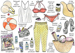 2014 How To Pack for a day at the beach - Cindy Mangomini (Cindy Mangomini) Tags: summer beach sunglasses illustration watercolor for drawing sandals pack bikini watercolour illustrator cuteness handdrawn sunhat summerstyle beachstyle essentialshow beachlook illustratedlife mangomini hellogiggles cindymangomini illustratedhowto beachessentialsbeach