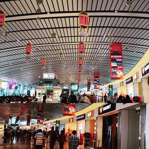 The airport has wishes hanging from its aluminium  wall. #Ramazan #Mubarak #hyderabad #airport. #travel #earlymorning #sunday