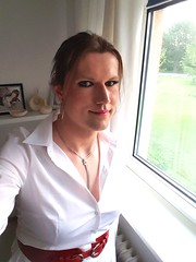 Guten Morgen! (Rikky_Satin) Tags: white office highheels skirt blouse tgirl transgender transvestite secretary tight satin pantyhose crossdresser gurl attire