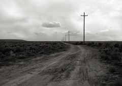 Road, Oregon (austin granger) Tags: road film oregon solitude religion crosses story dirt telephonepoles largeformat sagebrush correspondence deardorff austingranger