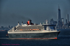 Queen Mary 2 passing the WTC (Phyllis Featherstone) Tags: newyorkcity worldtradecenter statenisland qm2 queenmary2 reallyrightstuff nikond3200 newyorkharbor fortwadsworth ftwadsworth phyllisfeatherstone reallyrightstuffhead queenmaryvz050313 sigma18250macrolens