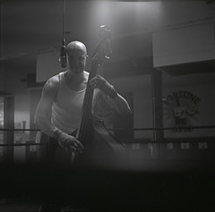 Upright Bass Boxing (Joseph Ascioti) Tags: music 6x6 video bass legendary ring fortune mat hp5 medium format behind boxing upright gym scenes ilford yashica 120mm the