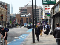 whitechapel high street e1, looking west, people, the shard in the background, 2013-05-07, 11-57-34 (tributory) Tags: road street city people urban london skyline architecture highway pavement inner east vehicles pedestrians borough innercity eastlondon towerhamlets