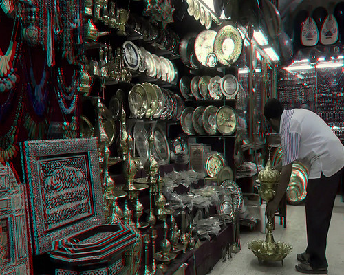 Eygpt 3D #10-Cairo Merchant Alley Shop (Anaglyph)