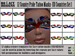 Country Pride Tattoo Masks- EU Countries Set 1 Poster Template (Ro!Act Designs) Tags: uk england texture dutch tattoo clothing mask designer country jewelry clothes sl secondlife romania accessories unionjack builder romanian facetattoo iw intaly fullperm flagpattern inworldz alphatexture