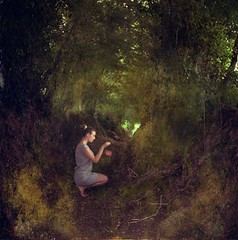 A- REALITY (Sarah Louette) Tags: woman brown nature silhouette dark painting photography back champs selfportraits surreal peinture dos fields romantic p conceptual brun romantique fonc conceptuel areality sarahlouette