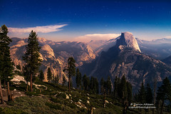Yosemite Haze (Darvin Atkeson) Tags: california moon mountain night america stars us nationalpark unitedstates nevada sierra moonlit andromeda yosemite halfdome range glacierpoint highcountry milkyway starlight darvin wildfires atkeson darv liquidmoonlightcom lynneal