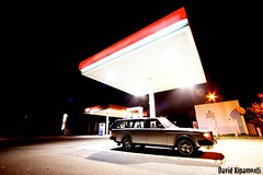 240 Turbo, Petrol station (David Ripamonti) Tags: road old red black color station night canon vintage dark wagon eos grey lights volvo big cool estate top wheels gear turbo 17 petrol rims fuel 240 polaris 245 eiker