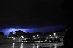 Lightning Storm, Croatia (Oliver Joe) Tags: camera city travel blue light sky blackandwhite white storm black colour