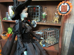 (6) The Witch's Captives (Foxy Belle) Tags: halloween scale kitchen vintage miniature doll witch oz wizard magic cottage barbie story ornament 16 diorama dollhouse hallmark playscale