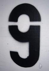Number nine (fotografierenderpunk) Tags: white black stencil nine number zahl neun