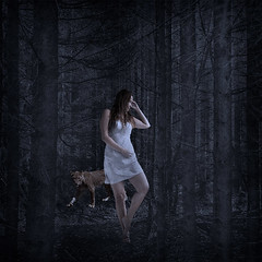 Tiina-Petersson-Night-dancer (Tiina Petersson) Tags: portrait selfportrait texture animals composition dark square forrest sweden lion surreal romantic conceptual twisted fineartphotography självporträtt porträtt konstfoto tiinapetersson