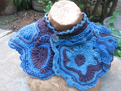 Blue scarflette front (atgaiva) Tags: handmade crochet free yarn homemade cotton form crocheted freeform