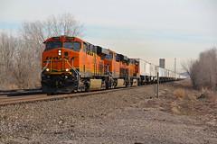 Z train full speed ahead! (sgillam30) Tags: railroad orange tracks trains bn ge bnsf railroads stacks railfanning gevo transcon trainrace bnsfkline burligrton